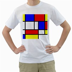 Mondrian Red Blue Yellow Men s T Shirt (white) (two Sided)