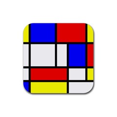Mondrian Red Blue Yellow Rubber Square Coaster (4 pack)
