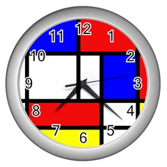 Mondrian Red Blue Yellow Wall Clocks (silver)
