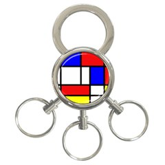 Mondrian Red Blue Yellow 3 Ring Key Chains