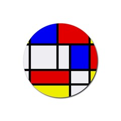 Mondrian Red Blue Yellow Rubber Round Coaster (4 Pack)