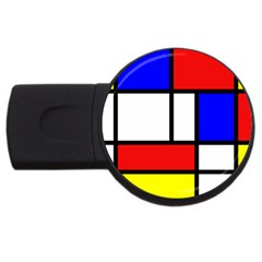 Mondrian Red Blue Yellow USB Flash Drive Round (1 GB)