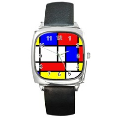 Mondrian Red Blue Yellow Square Metal Watch