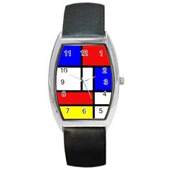 Mondrian Red Blue Yellow Barrel Style Metal Watch