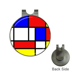 Mondrian Red Blue Yellow Hat Clips With Golf Markers