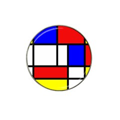 Mondrian Red Blue Yellow Hat Clip Ball Marker (4 Pack)