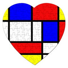 Mondrian Red Blue Yellow Jigsaw Puzzle (heart)