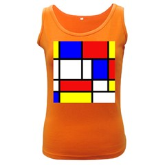 Mondrian Red Blue Yellow Women s Dark Tank Top