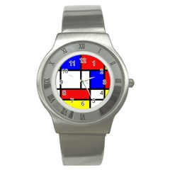 Mondrian Red Blue Yellow Stainless Steel Watch
