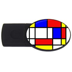 Mondrian Red Blue Yellow Usb Flash Drive Oval (4 Gb)