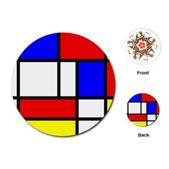 Mondrian Red Blue Yellow Playing Cards (round)