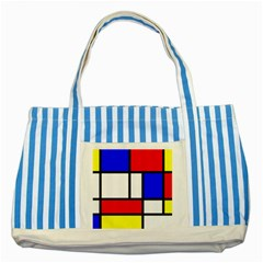 Mondrian Red Blue Yellow Striped Blue Tote Bag