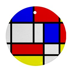 Mondrian Red Blue Yellow Round Ornament (Two Sides)