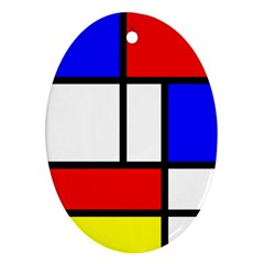 Mondrian Red Blue Yellow Oval Ornament (two Sides)
