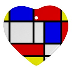 Mondrian Red Blue Yellow Heart Ornament (two Sides)