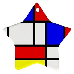 Mondrian Red Blue Yellow Star Ornament (two Sides)