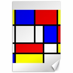 Mondrian Red Blue Yellow Canvas 12  X 18