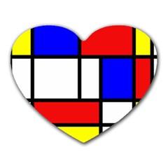 Mondrian Red Blue Yellow Heart Mousepads