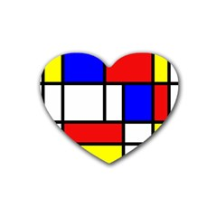 Mondrian Red Blue Yellow Rubber Coaster (Heart)