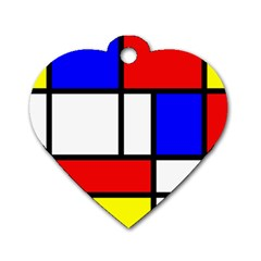 Mondrian Red Blue Yellow Dog Tag Heart (two Sides)