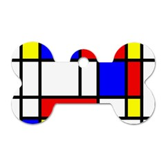 Mondrian Red Blue Yellow Dog Tag Bone (One Side)