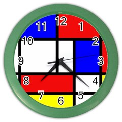 Mondrian Red Blue Yellow Color Wall Clocks