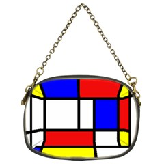 Mondrian Red Blue Yellow Chain Purses (Two Sides)