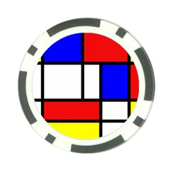 Mondrian Red Blue Yellow Poker Chip Card Guard (10 Pack)