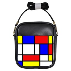 Mondrian Red Blue Yellow Girls Sling Bags