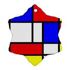 Mondrian Red Blue Yellow Ornament (Snowflake)