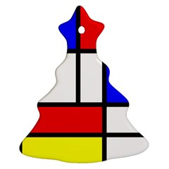 Mondrian Red Blue Yellow Christmas Tree Ornament (two Sides)
