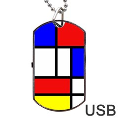Mondrian Red Blue Yellow Dog Tag Usb Flash (two Sides)