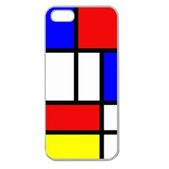 Mondrian Red Blue Yellow Apple Seamless iPhone 5 Case (Clear)