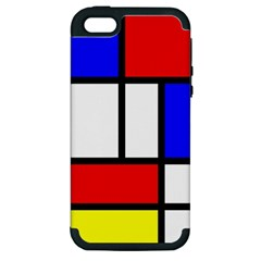 Mondrian Red Blue Yellow Apple Iphone 5 Hardshell Case (pc+silicone)