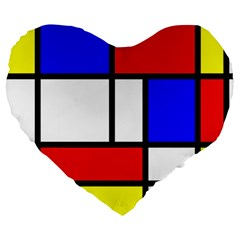 Mondrian Red Blue Yellow Large 19  Premium Heart Shape Cushions