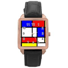 Mondrian Red Blue Yellow Rose Gold Leather Watch