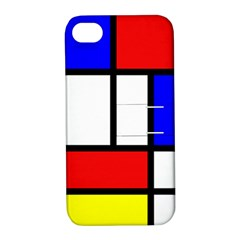 Mondrian Red Blue Yellow Apple Iphone 4/4s Hardshell Case With Stand
