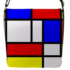Mondrian Red Blue Yellow Flap Messenger Bag (S)