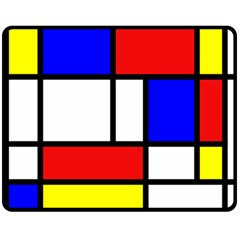 Mondrian Red Blue Yellow Double Sided Fleece Blanket (medium)