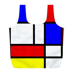 Mondrian Red Blue Yellow Full Print Recycle Bags (l)