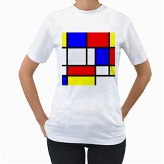 Mondrian Red Blue Yellow Women s T Shirt (white)