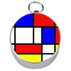 Mondrian Red Blue Yellow Silver Compasses