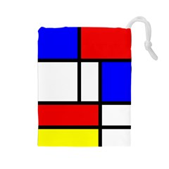 Mondrian Red Blue Yellow Drawstring Pouches (large)