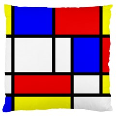 Mondrian Red Blue Yellow Large Flano Cushion Case (One Side)