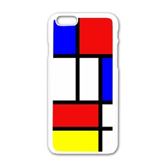 Mondrian Red Blue Yellow Apple Iphone 6/6s White Enamel Case