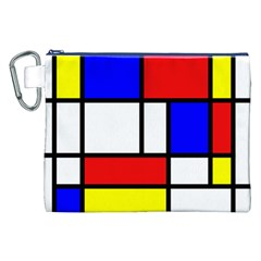 Mondrian Red Blue Yellow Canvas Cosmetic Bag (XXL)
