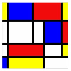 Mondrian Red Blue Yellow Large Satin Scarf (square)