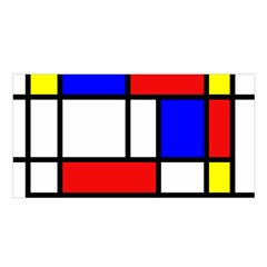 Mondrian Red Blue Yellow Satin Shawl