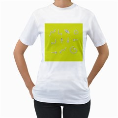 Arrow Line Sign Circle Flat Curve Women s T Shirt (white) (two Sided)