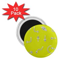 Arrow Line Sign Circle Flat Curve 1 75  Magnets (10 Pack)